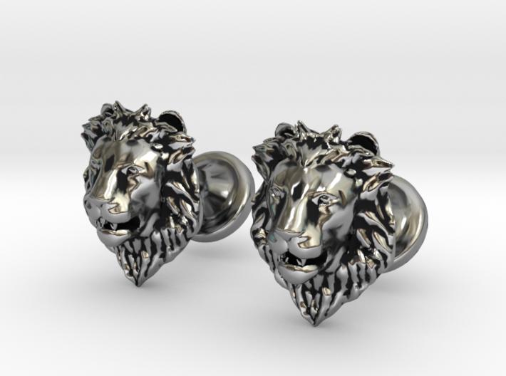 Lions Head cufflinks 3d printed