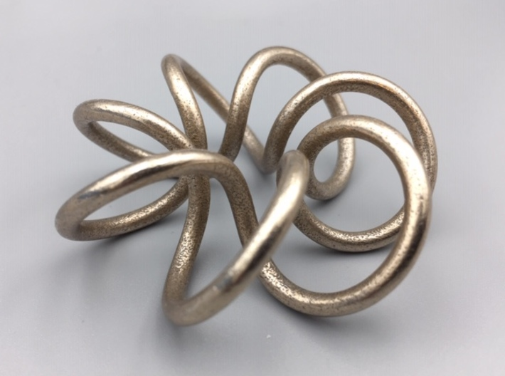Steel Torus Knot (2,7) 3d printed 3D print of model in Polished Bronzed-Silver Steel