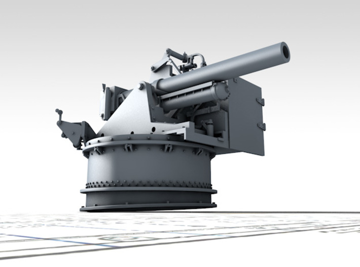 """1/128 4.5""""/19 (11.4 cm) 8cwt QF MKI Fore (MTB) 3d printed 3D render showing product detail"""