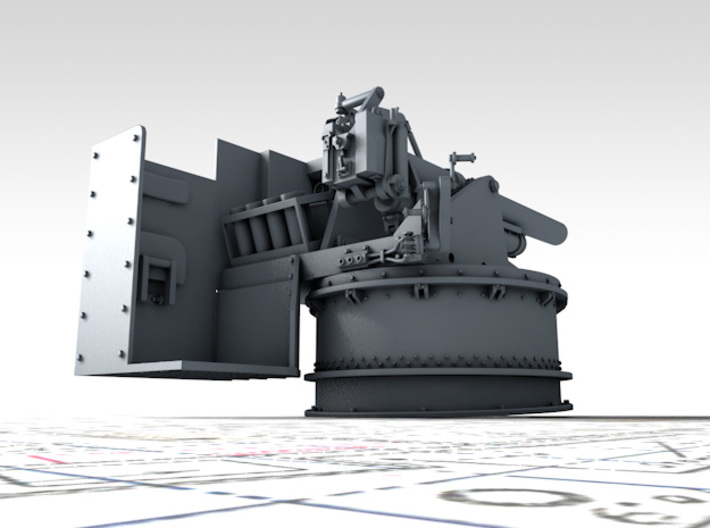 """1/144 4.5""""/19 (11.4 cm) 8cwt QF MKI Aft (MTB) 3d printed 3D render showing product detail"""