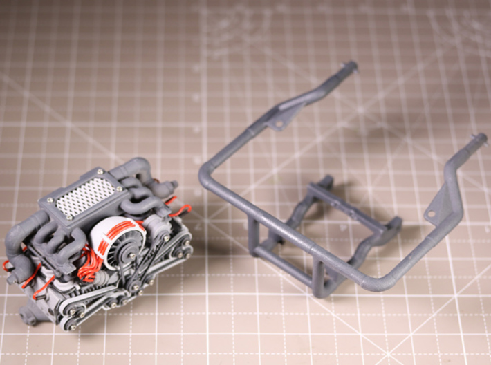 Sand Scorcher Rear Engine Cage 3d printed Rear Engine Cage, shown with the Twin Turbo Flat Six Engine Kit (other parts sold separately)