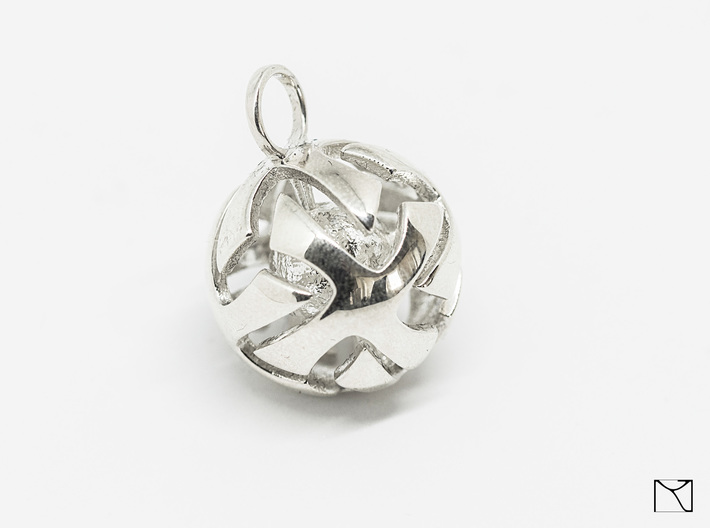 Ball Pendant 3d printed Polished Silver