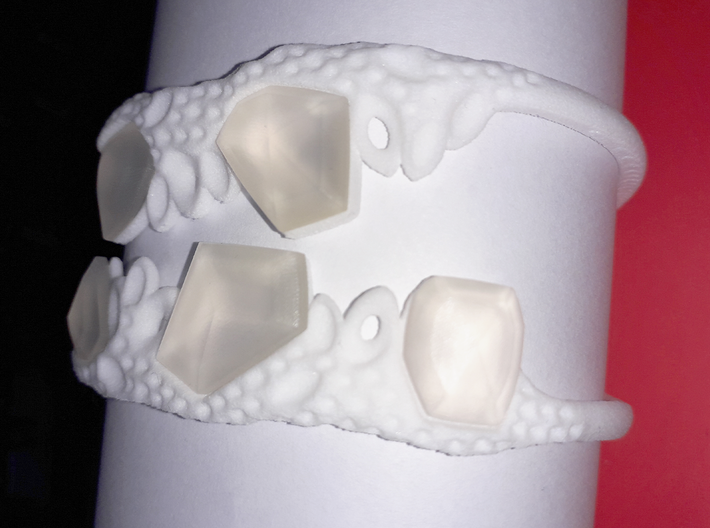 Cosplay Club Cuff 3d printed Cuff Blank with 3D printed crystals (Smooth Fine Detail Plastic)