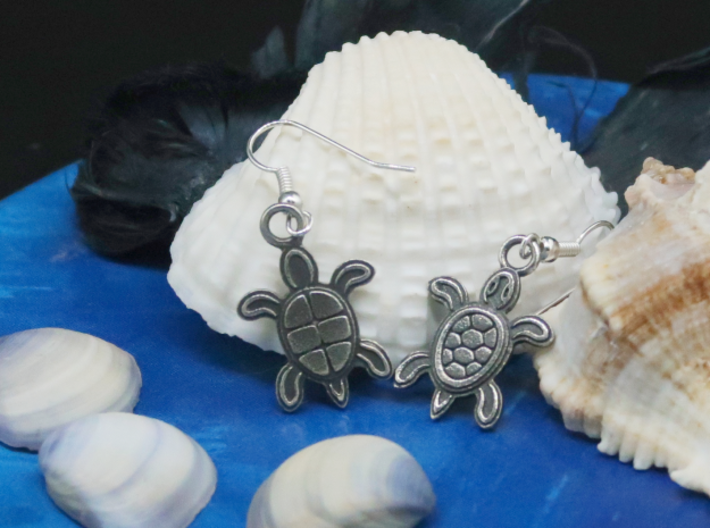 Tribal Turtle Earrings 3d printed Different designs on back and front side.