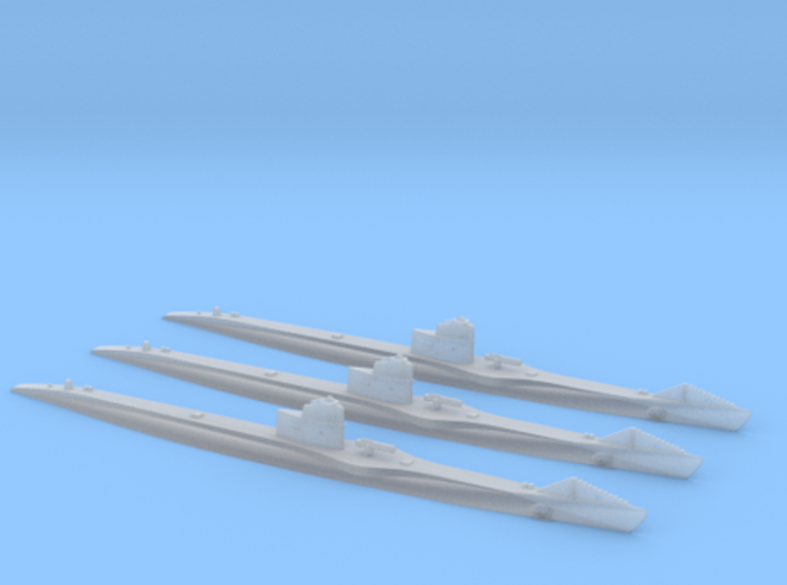 Submarine Type UBIII of WW1 Set of 3 3d printed UBIII Set of Three in 1/700 or 1/600 scale by CLASSIC AIRSHIPS