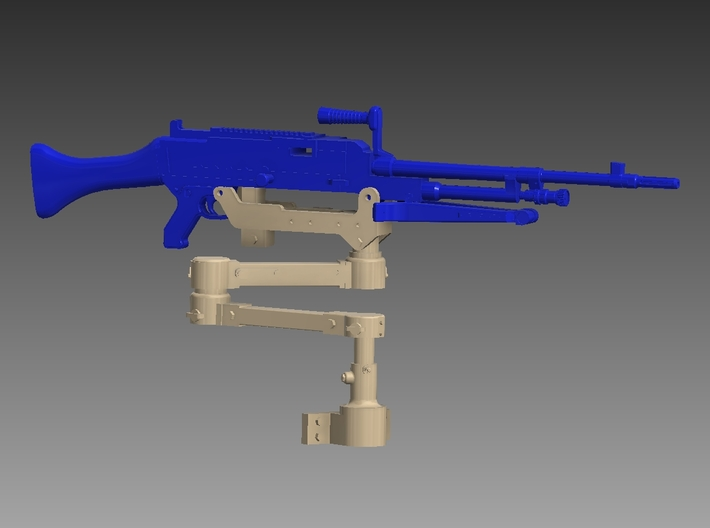 M240 articulated arm 1/18 3d printed