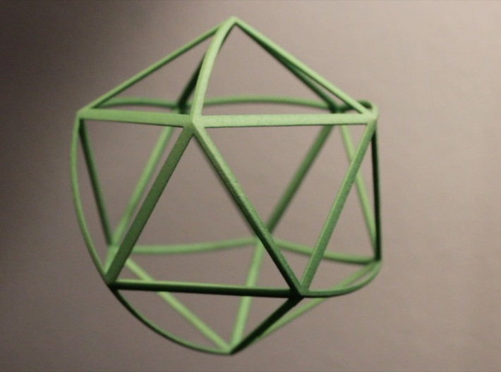 Walsh Icosahedron 3d printed This shape wobbles as it rolls!