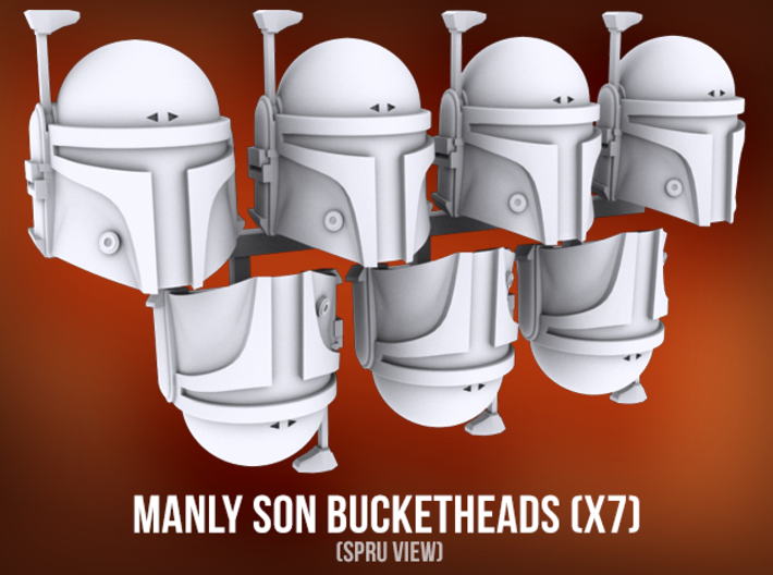 Manly Son Bucketheads (x7) 3d printed