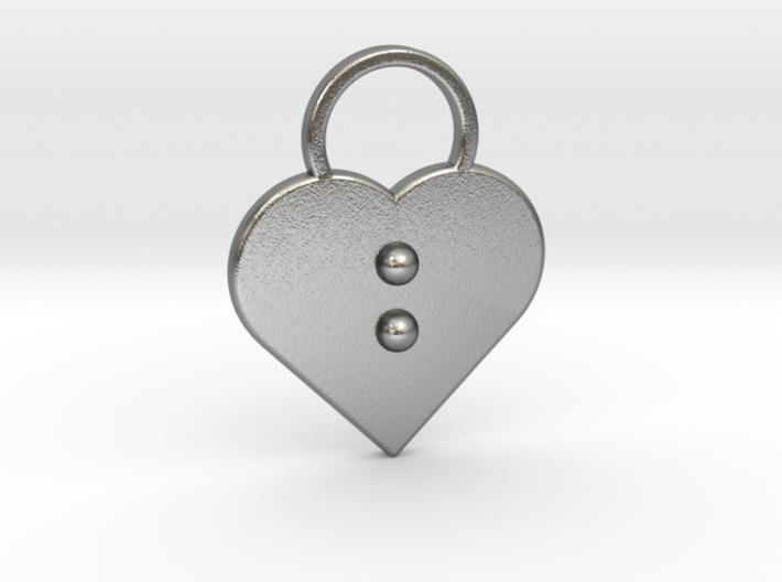 """b"" Braille Heart 3d printed"