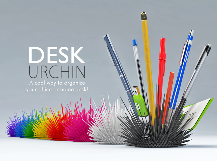 Desk Urchin - A cool way to organize your desk! 3d printed Render Preview