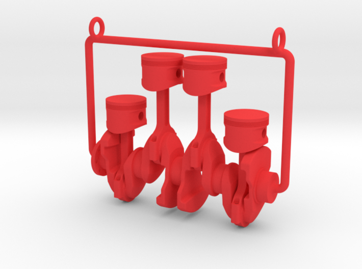 Inline 4 piston engine pendant 3d printed