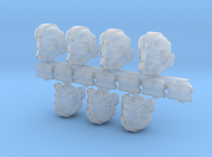 Dogwalker Bucketheads (x7) 3d printed