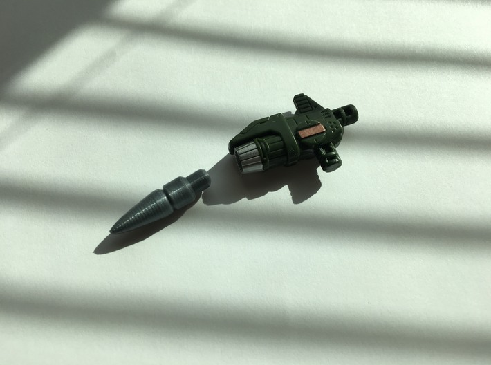 Siege War for Cybertron Hound Missile for Launcher 3d printed Home-printed missile next to stock launcher.