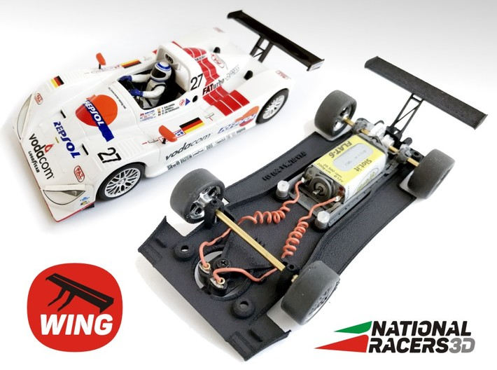 3D Chassis - Fly Lola B98/10 - WING - Inline 3d printed Chassis compatible with Fly model (slot car and other parts not included)