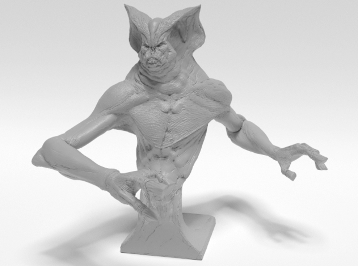 Deamon Bat Bust 3d printed Front render of 3d model, not accurately representing material.