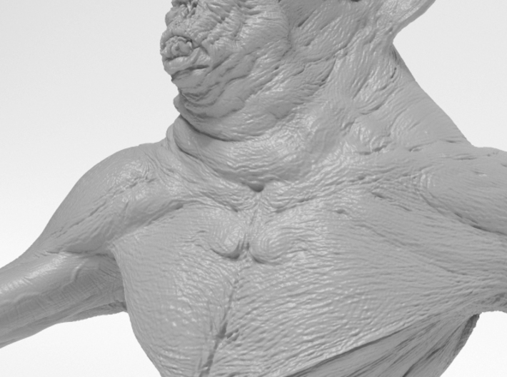 Deamon Bat Bust 3d printed Chest closeup render of 3d model