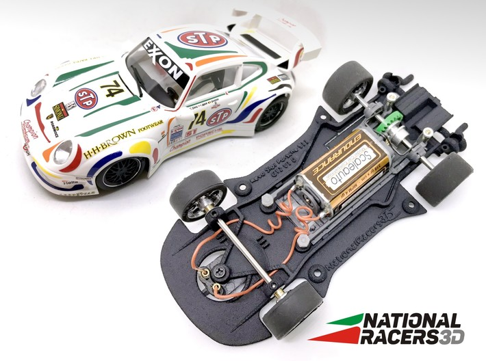 3D Chassis - Revo Slot Porsche 911 GT2 (Combo) 3d printed Chassis compatible with Revo Slot model (slot car and other parts not included)