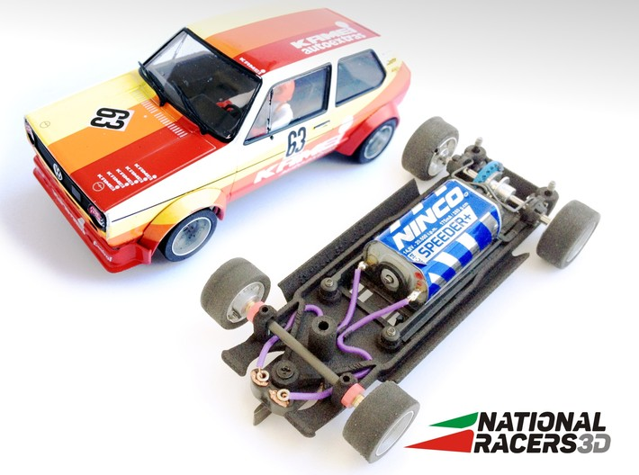 3D Chassis - Spirit VW Golf I (Inline) 3d printed Chassis compatible with Spirit model (slot car and other parts not included)
