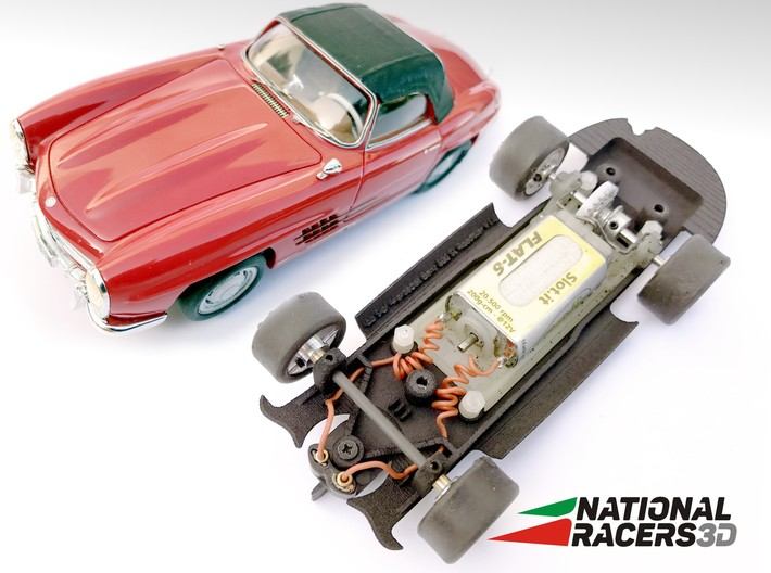 Chassis - Top Slot Mercedes Benz 300SL Roadster 3d printed Chassis compatible with Top Slot model (slot car and other parts not included)