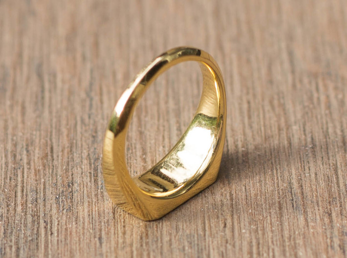 UNISEX Pinky Ring Multiple Sizes 3d printed 18K Gold Plated Brass