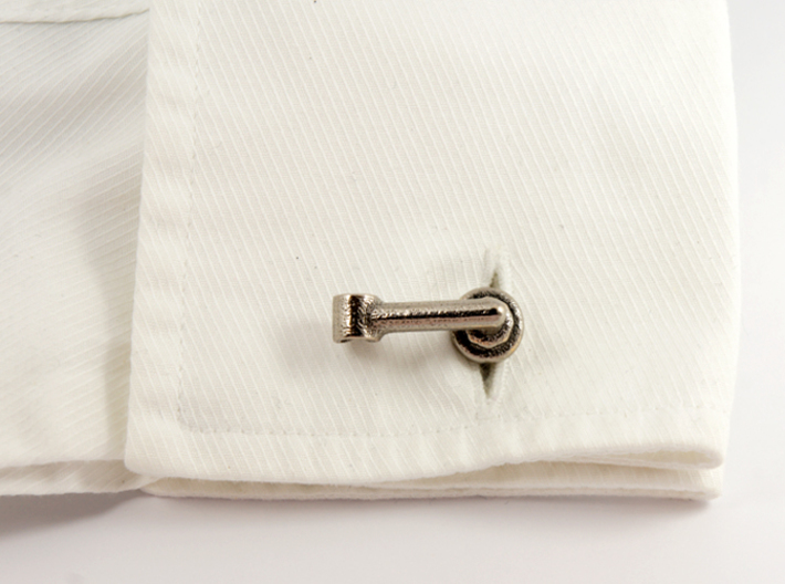 1A Bicycle Stem Cufflink 3d printed Stainless Steel