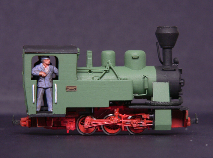 TTe Polish LAS locomotive (with spark arrestor) 3d printed An example of a completed model using the scratch-aid body in 4mm scale (009) using a Fleischmann BR80 N gauge chassis.