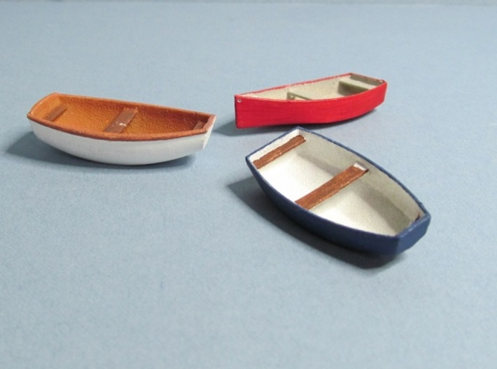 4 mm Scale Skif Rowing & Sailing Boats x3 3d printed