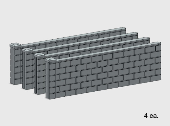 5' Block Wall - 4-Long Jointed Sections 3d printed Part # BWJ-003