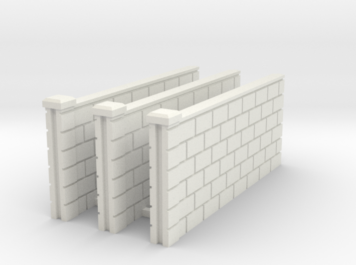 5' Block Wall - 3-Med Jointed Sections 3d printed Part # BWJ-005