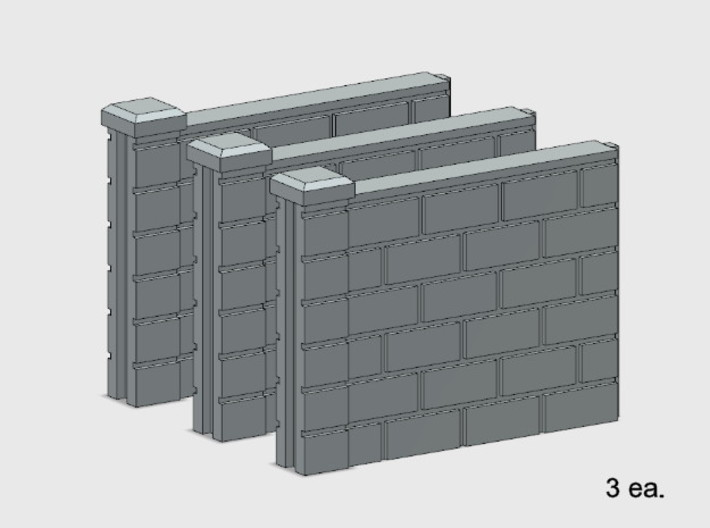 5' Block Wall - 3-Short Jointed Sections 3d printed Part # BWJ-008