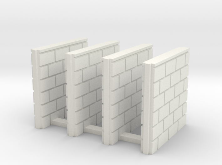 5' Block Wall - 4-Short Jointed Splices 3d printed Part # BWJ-027