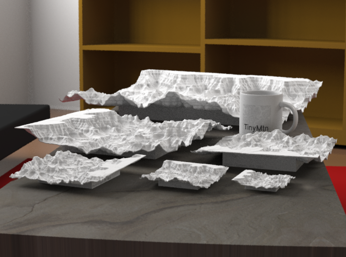 """12'' Grand Canyon Terrain Model, Arizona, USA 3d printed Radiance rendering of all available sizes: 3"""", 4"""", 6"""", 8"""", 12"""", 20""""."""