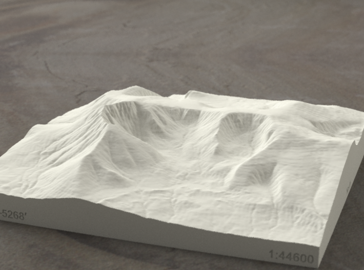 6'' Mt. Katahdin, Maine, USA, Sandstone 3d printed Radiance rendering of Katahdin from the East.