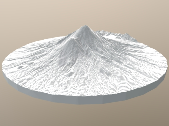 Mount Taranaki Map - Contours (10 Meter) - Small 3d printed