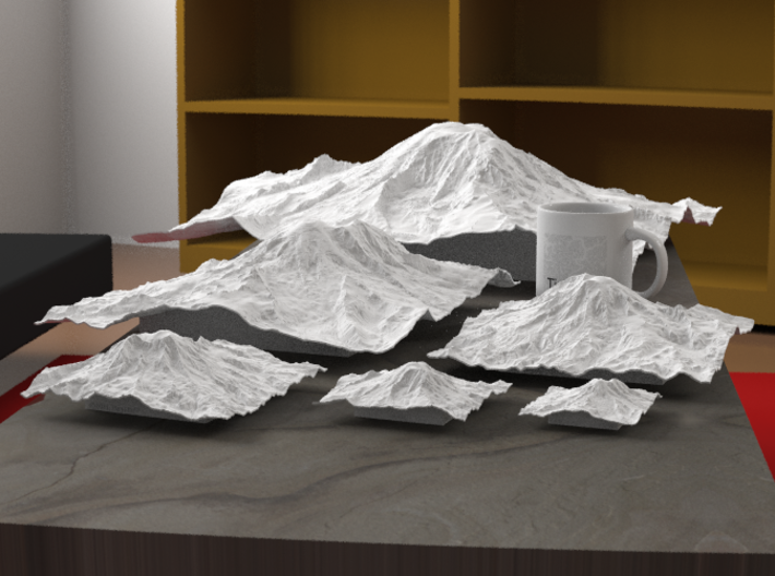 """12'' Mt. Rainier, Washington, USA 3d printed Radiance rendering of all sizes available in 'White, Strong, and Flexible' material: 3"""", 4"""", 6"""", 8"""", 12"""", 20""""."""