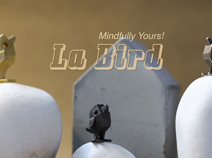 LaBird 30MM 3d printed Mini sculpture and decor with hidden message . LaBird in Stainless Steel material 22mm and 30mm size compared