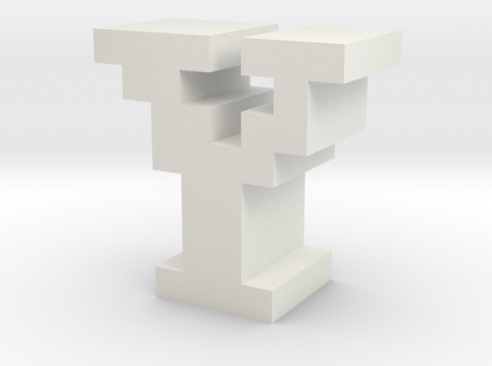 """""""Y"""" inch size NES style pixel art font block 3d printed"""
