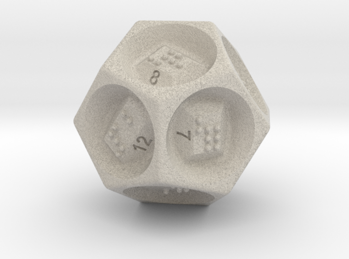 D12 Dice - Braille 3d printed