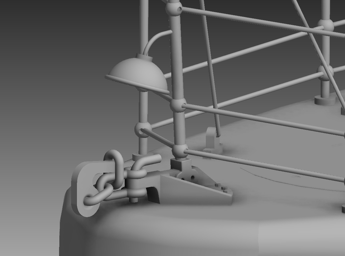 P boat Towing hitch and rear light shade 1/48 3d printed