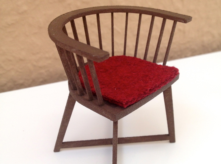 1:12 Chair Italian modern 3d printed here painted for a log cabin environment