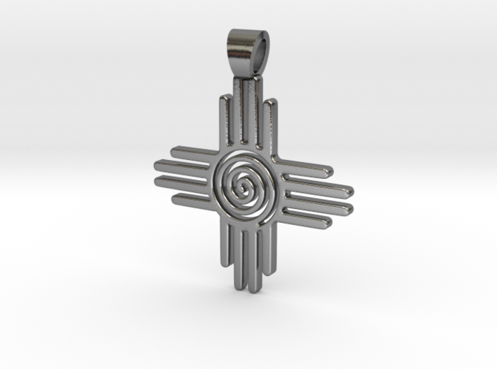 Zia's Sun spiral [pendant] 3d printed