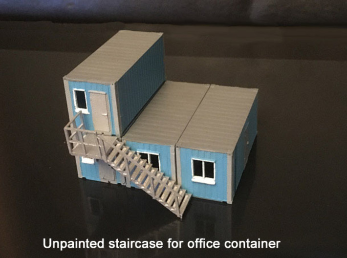 Staircase right, to N scale office container 3d printed