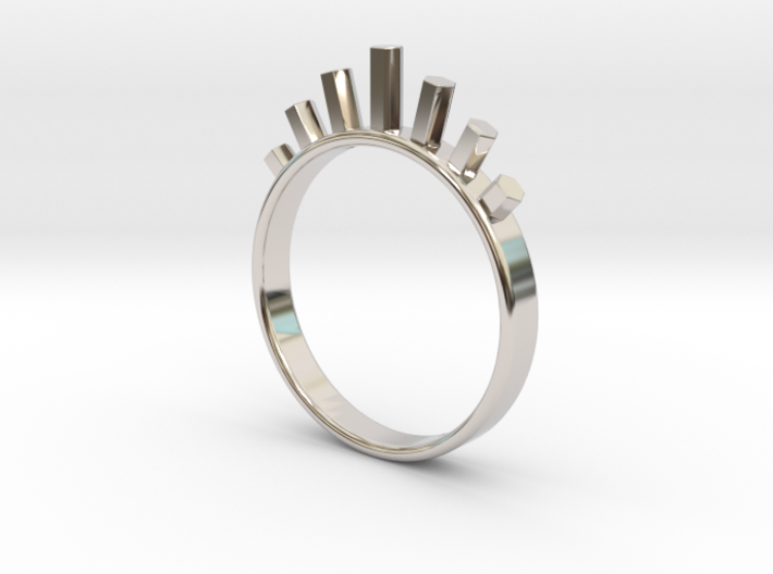 Ring with Hexagons 3d printed