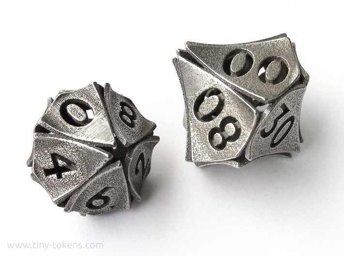 Peel Dice - 10D10 (percentile die) 3d printed The 10D10 compared to the regular D10 from the same set.