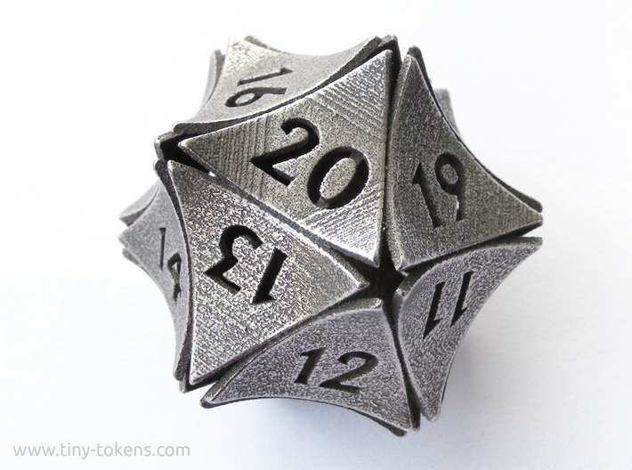 Peel Dice - D20 (twenty sided gaming die) 3d printed (Here the spindown model is show. The regular d20 has the same design but different numbering.)