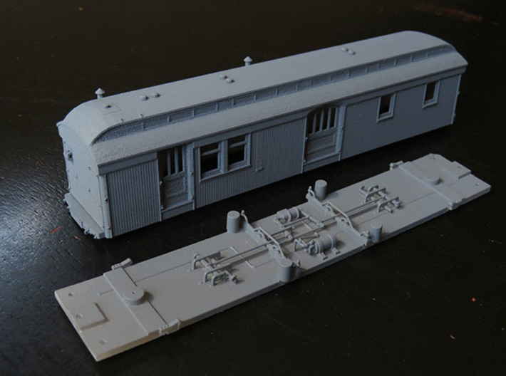 C&S Baggage/RPO Cars 10, 11, 12 BODY ONLY 3d printed Body and floor shown. Floor is available separately on this site.