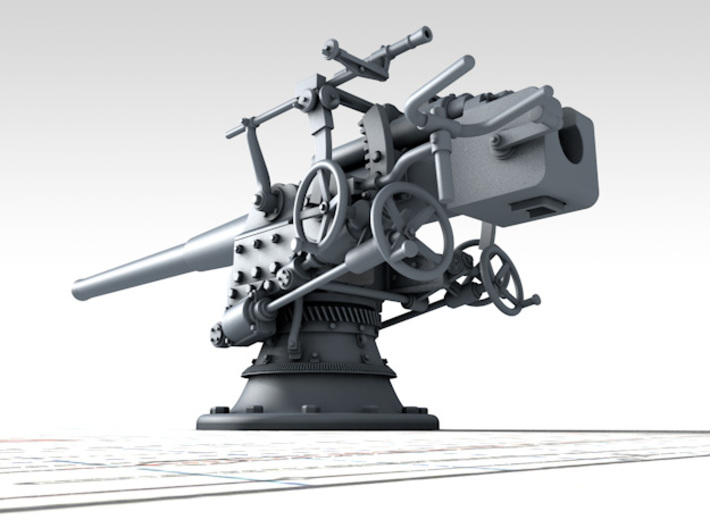"1/96 German 8.8 cm/45 (3.46"") SK L/45 Guns x2 3d printed 3D render showing product detail"