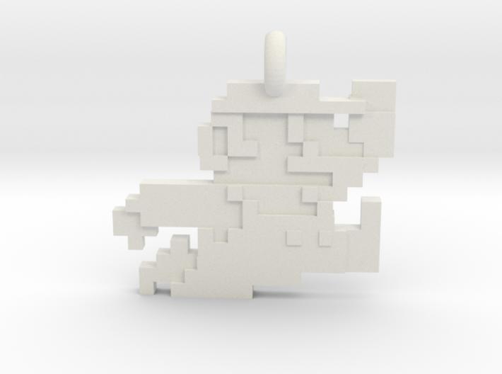Mario bros 8 bit Pendant necklace all materials 3d printed