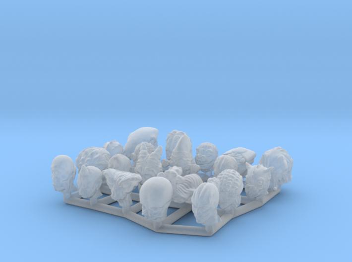 (Legion) Alien Heads Set II 3d printed