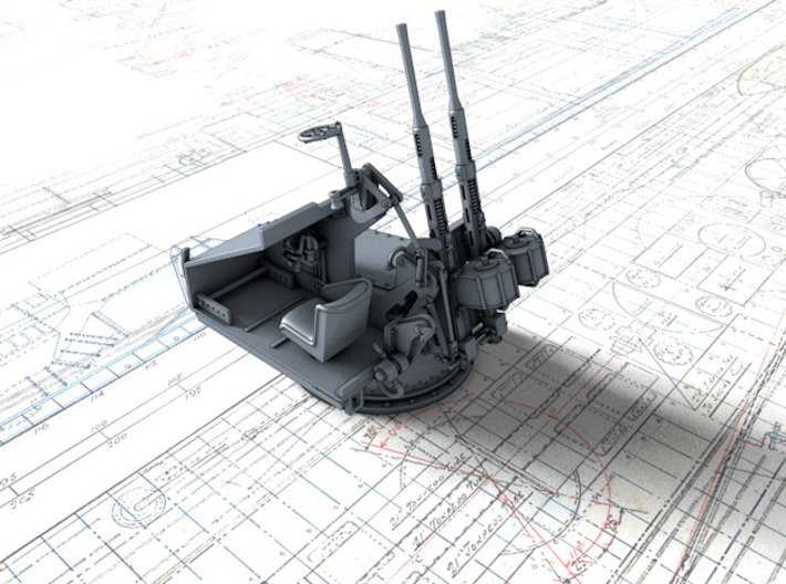 1/48 Twin 20mm Oerlikon MKV Mount Not in Use 3d printed 3d render showing interior detail (without side panel)